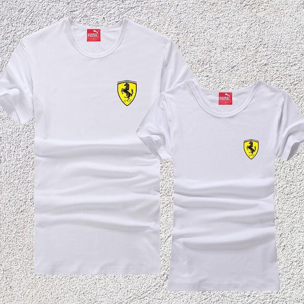 pumaT恤 2017夏季新款 小法拉利盾牌時尚情侶圓領短袖T恤 白色