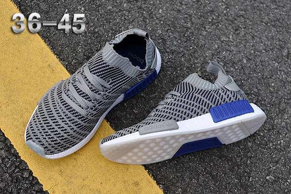 adidas nmd 2017新款針織條紋版 爆米花透氣時尚情侶跑步鞋 灰藍色