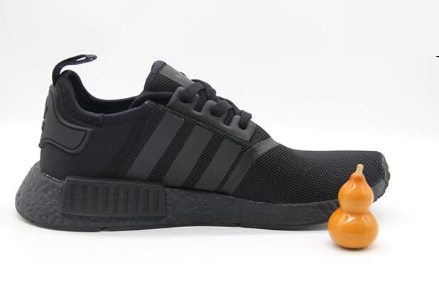 adidas nmd r1 primeknit 2018新款網面透氣情侶鞋 全黑色