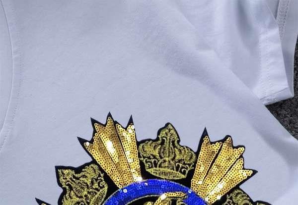 versace t恤 2018新款 亮片刺繡頭像男生休閒圓領短袖T恤 MG
