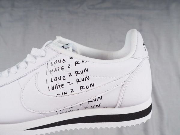 Nike Classic Cortez SE 2019新款 阿甘女生休閒運動慢跑鞋 白涂鴉黑白