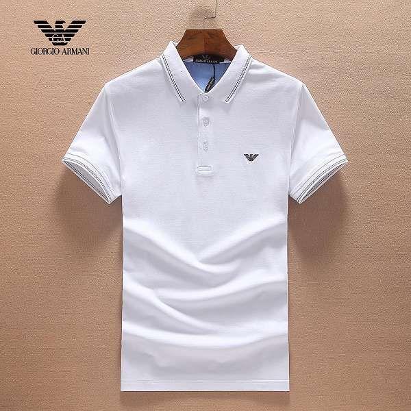 armani衣服 2018新款 刺繡logo翻領男生商務短袖 873款白色