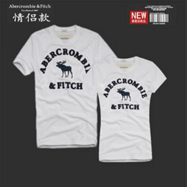 Abercrombie&Fitch 短袖 2017新款 情侶休閒圓領短袖T恤 B12款白色字母小鹿