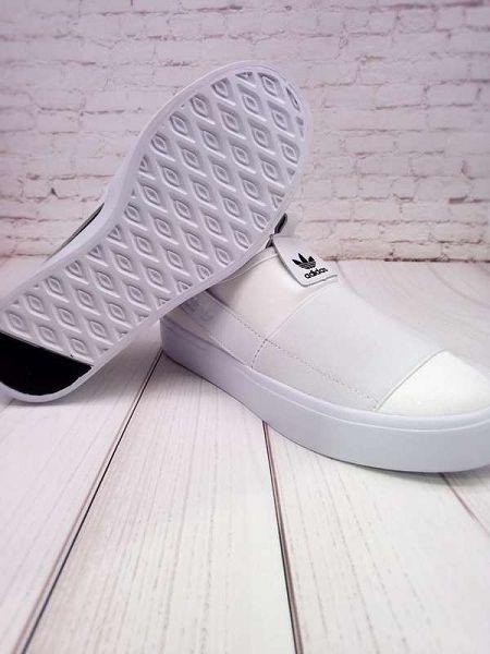 adidas鞋子 2016新款 三葉草一腳蹬綁帶系列 石頭紋情侶款板鞋 白色