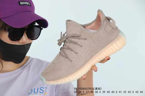 Adidas Yeezy Boost 350 V2 2019新款 蛇皮紋皮面拼接 爆米花中底 椰子緩震情侶款跑步鞋 帶半碼
