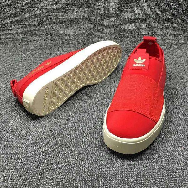 adidas鞋子 2016新款 三葉草一腳蹬綁帶系列 石頭紋男生板鞋 紅色