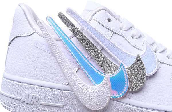 Nike Air Force 1 Swoosh Pack 2018新款 空軍純白換勾情侶休閒板鞋