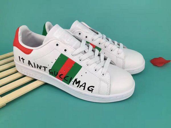 low priced d0701 5dccc adidas stan smith 史密斯gucci三方聯名款三葉草時尚情侶款板鞋 ...