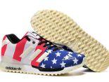 adidas originals zx700 flux 陳冠希上腳款 三葉草國旗夜光款情侶跑鞋 白紅藍