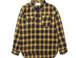 gucci襯衫 2017新款 格子飛船時尚男生休閒長袖襯衣 黃色
