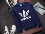 adidas愛迪達 2016新款 燙印三葉草字母標時尚長袖情侶款 藍白色