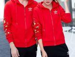adidas套裝 2017新款 時尚情侶休閒連帽秋冬套裝 1019款紅黑