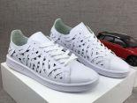 adidas stan smith 史密斯鏤空雕刻皮質時尚情侶板鞋 白色