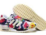 adidas originals zx700 flux 陳冠希上腳款 三葉草彩繪夜光款情侶跑鞋 白藍色
