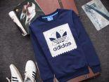 adidas愛迪達 2016新款 腰果花三葉草字母標時尚長袖情侶款 深藍色