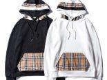 Burberry衣服 2019新款 格紋拼接男生連帽長袖衛衣 JM