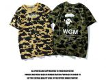 bape短袖 2018新款 潮牌猿人頭WGM迷彩男生短袖T恤 JM