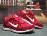 nike air free 4.0 赤足系列v4升級版 飛線編織透氣時尚女生跑鞋 紅色
