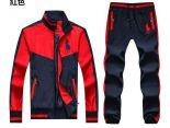 polo raphael lauren 822款 大馬刺繡標拼色撞色男生夾克套裝 紅色