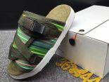 clot x suicoke 涼鞋 2017明星同款 彩條復古織帶時尚情侶沙灘拖鞋 軍綠色