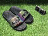puma popcap swan 蕾哈娜同款沙灘拖鞋 夏季時尚情侶款一字拖 鐳射黑色