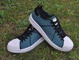 adidas originals superstar primeknit bounce編織貝殼頭系列 三葉草時尚情侶板鞋 淺藍黑