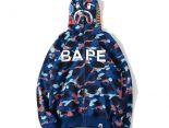 bape外套 2017新款 迷彩字母時尚男生連帽衛衣外套 藍色