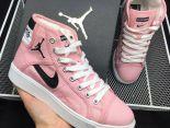 air jordan sky high 2017新款 喬丹元年帆布透氣高幫時尚女生板鞋 粉色