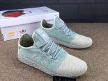 pharrell williams x adidas tennis hu 菲董聯名款 小椰子編織透氣時尚情侶鞋 淺藍米黃