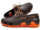 crocs鞋 夏季新款 時尚沙灘帆船鞋 男生系帶戶外休閒鞋 咖啡色