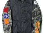 bape外套 2017新款 迷彩鯊魚空軍飛行員男生夾克外套 黑色