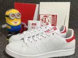 adidas stan smith 2017史密斯新款 三葉草低幫時尚情侶板鞋 白紅色