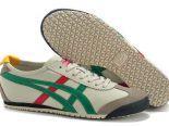 Asics Onitsuka Tiger MEXICO 66 皮質時尚情侶休閒鞋 米白綠紅