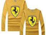 Ferrari法拉利 2017經典款式 大logo印花休閒情侶圓領長袖T恤 黃色