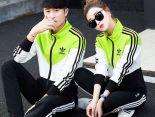 adidas套裝 2017新款 時尚情侶休閒秋冬套裝 6116款黑白綠