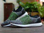adidas Ultra Boost Laceless 2018新款 無鞋帶針織情侶襪子慢跑鞋 灰綠
