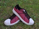 adidas originals superstar primeknit bounce編織貝殼頭系列 三葉草時尚情侶板鞋 粉紅黑