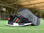 Adidas NMD R1 2018新款 網面gucci條紋休閒童鞋 黑紅綠