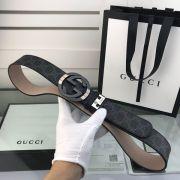 gucci皮帶 古馳2018新款 HF86牛皮雙G壓紋鋼扣時尚腰帶
