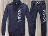 prada 套裝 2017新款 字母純色男生翻領長袖套裝 藍白