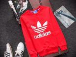 adidas愛迪達 2016新款 燙印三葉草字母標時尚長袖情侶款 紅白色
