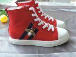 gucci古馳 2018新款 牛皮金屬蜜蜂休閒女生板鞋 紅色
