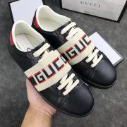gucci鞋 古馳2018新款休閒鞋 200牛皮時尚情侶鞋 黑色