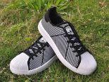 adidas originals superstar primeknit bounce編織貝殼頭系列 三葉草時尚情侶板鞋 黑白色