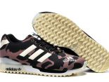 adidas originals zx700 flux 陳冠希上腳款 三葉草迷彩夜光款情侶跑鞋 黑棕色