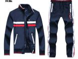 polo raphael lauren 665款 小馬刺繡標撞色條紋男生夾克套裝 寶藍色