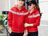 adidas套裝 2017新款 時尚情侶休閒連帽秋冬套裝 2288款紅黑