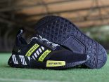 Adidas NMD R1 2018新款 網面off white條紋休閒童鞋 黑白綠