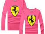 Ferrari法拉利 2017經典款式 大logo印花休閒情侶圓領長袖T恤 粉色