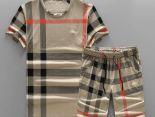 burberry衣服 2018新款 格紋男生休閒圓領短袖套裝 MG